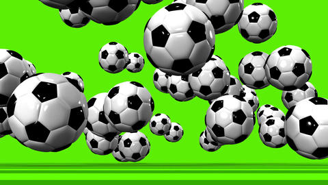 Bouncing Soccer Balls On Soccer Field Animation