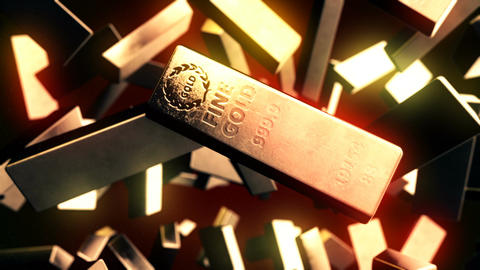 Abstract CGI motion graphics with golden bars Animation