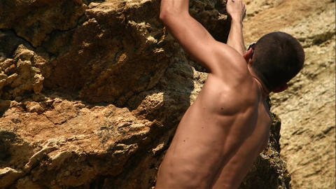 Muscular Climber Climbs Up Footage