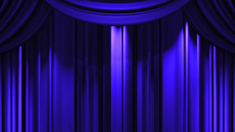 Blue Stage Curtain On Black Background Animation