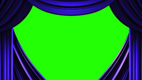 Blue Stage Curtain On Green Chroma key CG動画
