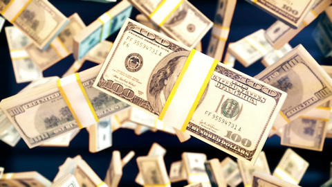 Abstract CGI motion graphics with flying dollar bill Animation