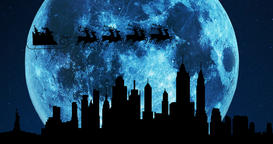 A 4K silhouette of Santa Claus and his reindeers flying over the city skyline at Image