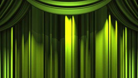 Green Stage Curtain On Black Background Animation