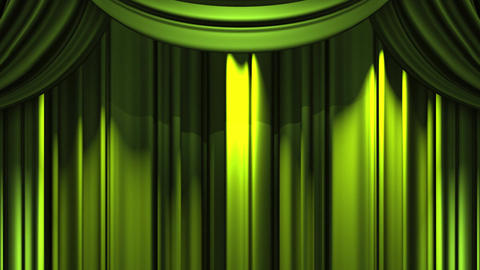 Green Stage Curtain On Black Background CG動画