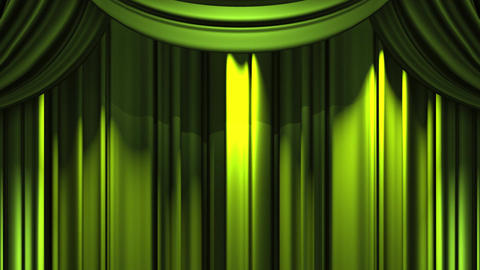 Green Stage Curtain On Blue Chroma key Animation
