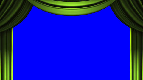 Green Stage Curtain On Blue Chroma key Stock Video Footage