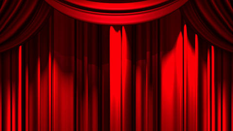 Red Stage Curtain On Black Background Animation