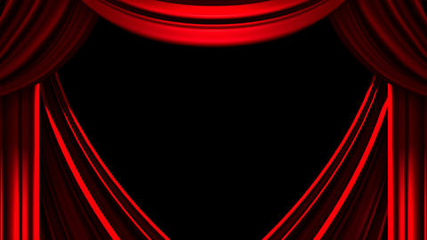 Red Stage Curtain On Black Background, CG動画素材