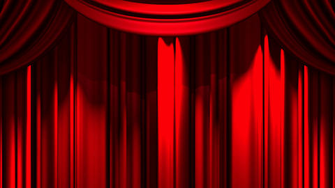 Red Stage Curtain On Green Chroma key Animation