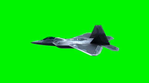 F-22 Fighter Jet, flying over city on green screen Animation