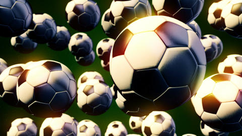 Abstract CGI motion graphics with flying soccer balls Image