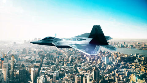 F-22 Fighter Jet, flying over city Animation