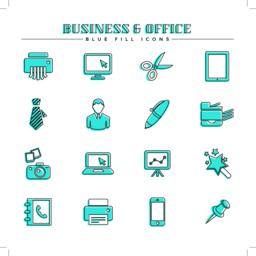 Business and office, blue fill icons set Vector