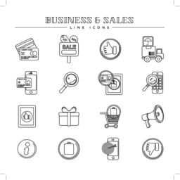 Business and sales, line icons set Vector