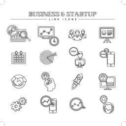 Business and startup, line icons set Vector
