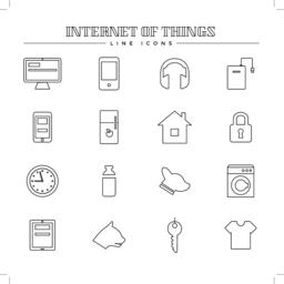 Internet of things and smart home, line icons set Vector
