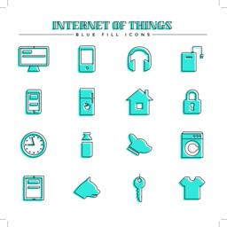 Internet of things and smart home, blue fill icons set Vector