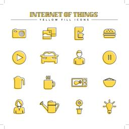 Internet of things and smart home, yellow fill icons set Vector