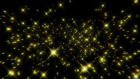 Flight inside a Gold Stars Particles Field Loopable Motion Background Animation