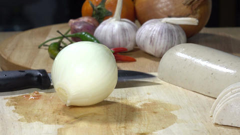 onions being cut into pieces Footage