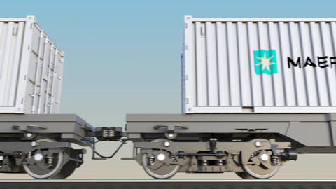 Railway transportation of containers with Maersk logo. Editorial 3D rendering 4K Footage