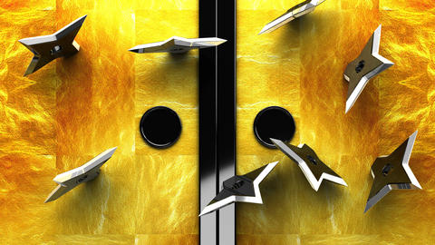 Sliding Door That Throwing Stars Pierce_Black Background Animation