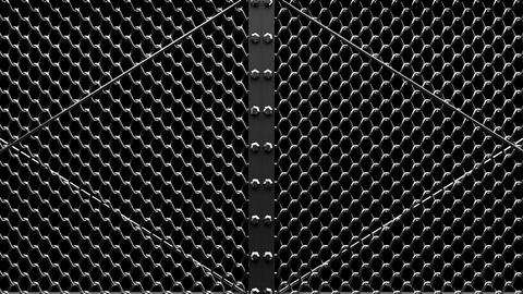 Silver Wire Mesh Gates On Black Background Animation