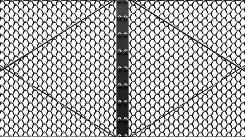 Silver Wire Mesh Gates On White Background Animation