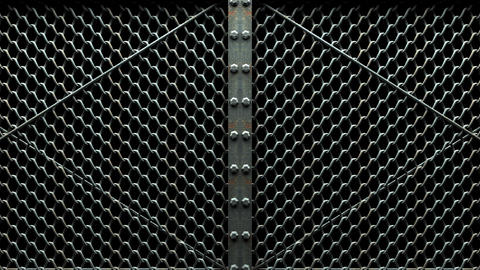 Wire Mesh Gates On Black Background Animation