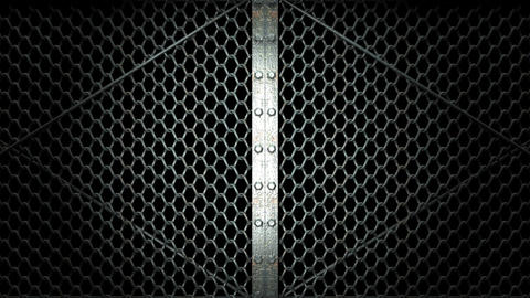 Wire Mesh Gates That Is Spotlighted On Black Background Animation