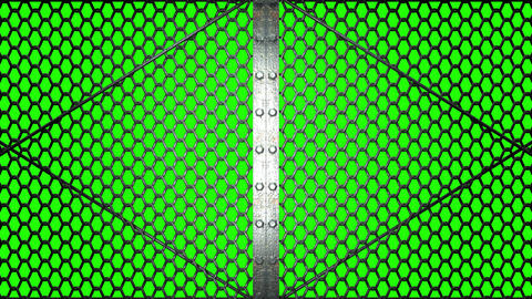 Wire Mesh Gates That Is Spotlighted On Green Chroma Key Animation