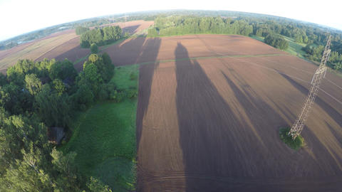 Drone fly up over autumn sowed fields in beautiful morning Footage