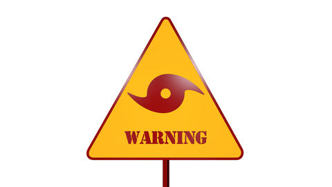 Hurricane Road Sign Isolated On White Background 3D Rendering フォト