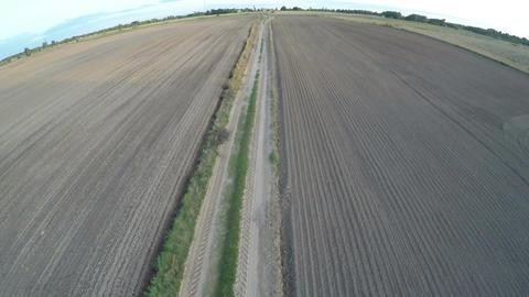 Sowed autumn farmland fields and rural road, aerial view ビデオ