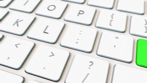 Macro shot of white computer keyboard and green close key. Conceptual 4K Footage