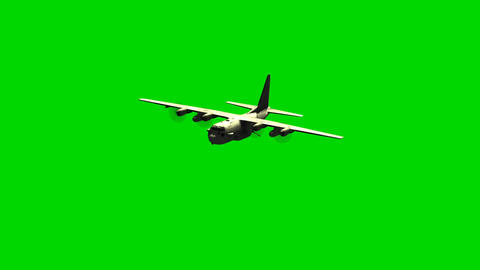 Lockheed military transport aircraft in flight on green screen Animación