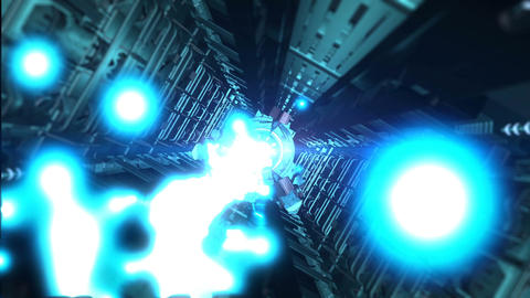 Abstract sci-fi spaceship corridor with blue laser CG動画素材
