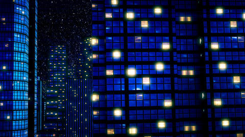 Skyscrapers under star sky at night Image