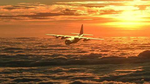 Lockheed military transport aircraft in flight CG動画素材