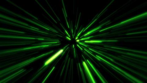 Flight inside a Green StarsField Tunnel at The Speed of Light Loopable Animación