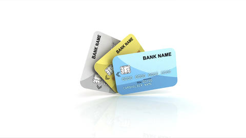 Credit cards unfold like a fan Animation