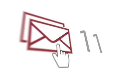 White index finger and many emails Animation