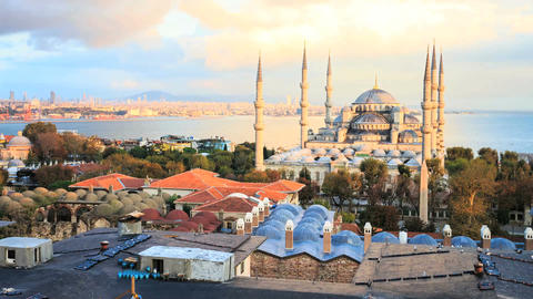 View of blue mosque and the sea in the evening 영상물