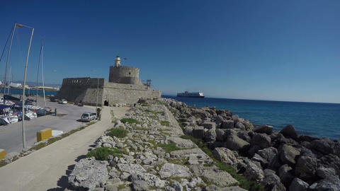 Rhodes island historical port fort and ship in sea. Time lapse 4K, Rhodes, Footage