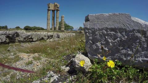 historical Apollo temple ruins in acropolis, Rhodes, Greece Footage