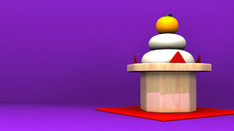 Japanese Round Rice Cake On Purple Text Space Animation