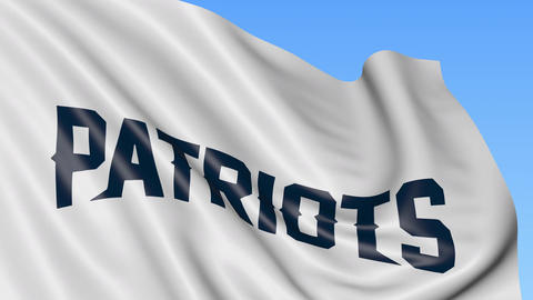 Close-up of waving flag with New England Patriots NFL American football team Footage