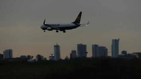 WARSAW, POLAND - SEPTEMBER 14, 2017. Ryanair commercial airplane landing the Footage