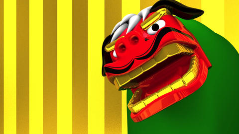 Lion Dance On Gold Text Space Animation